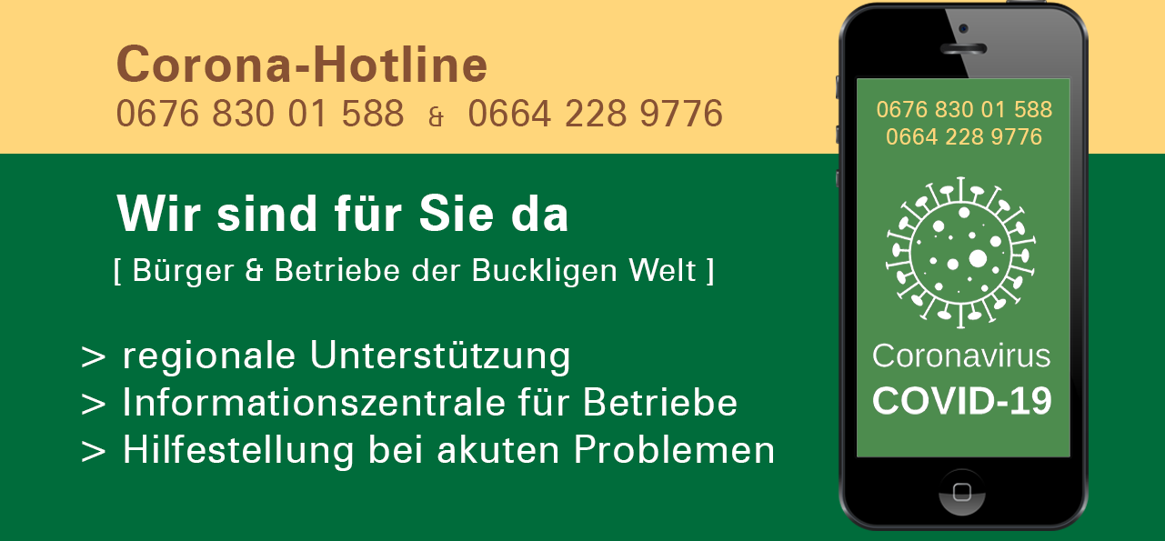 Corona Hotline der Wirtschaftsplattform Bucklige Welt